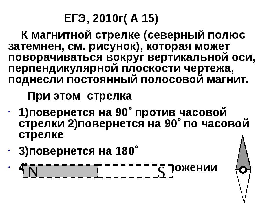 ЕГЭ, 2010г( А 15) К магнитной стрелке (северный полюс затемнен, см. рисунок)...