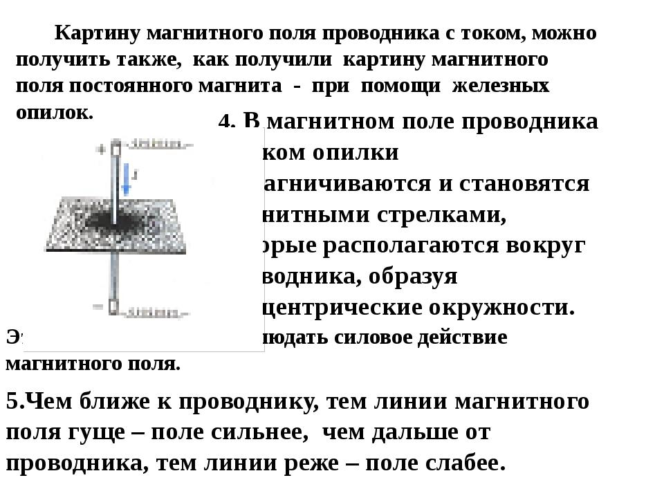 Картину магнитного поля проводника с током, можно получить также, как получи...