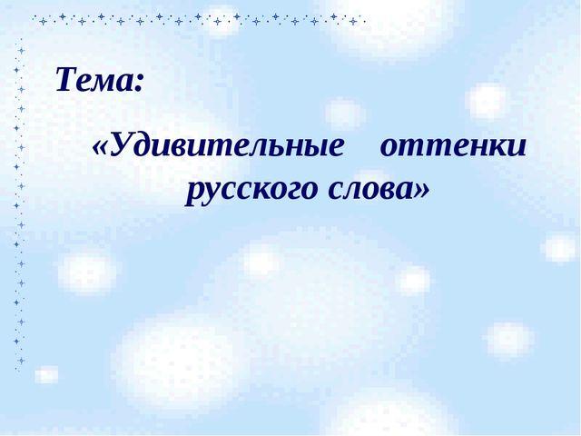 Тема: «Удивительные оттенки русского слова»