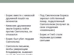 Борис вместе с киевской дружиной пошёл на печенегов Киевские дружинники звал