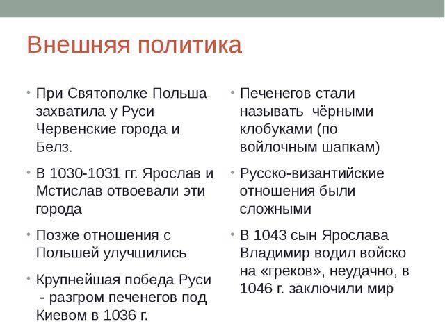 Внешняя политика При Святополке Польша захватила у Руси Червенские города и Б...