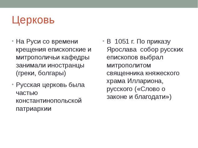 Церковь На Руси со времени крещения епископские и митрополичьи кафедры занима...