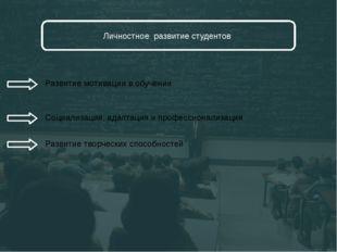 Личностное развитие студентов Развитие мотивации в обучении Социализация, ад