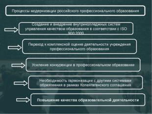 Процессы модернизации российского профессионального образования Создание и вн