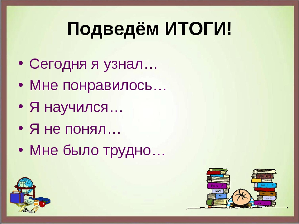Подведём ИТОГИ! Сегодня я узнал… Мне понравилось… Я научился… Я не понял… Мне...