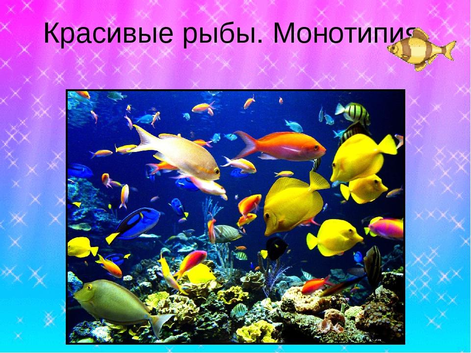 Красивые рыбы. Монотипия.