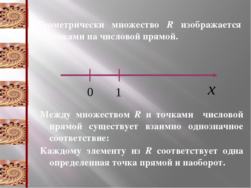 Геометрически множество R изображается точками на числовой прямой. Между множ...