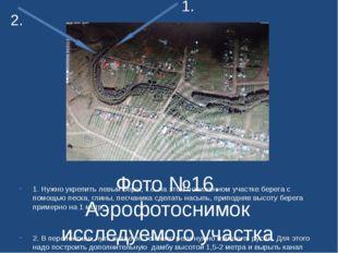Фото №16. Аэрофотоснимок исследуемого участка 1. Нужно укрепить левый берег,