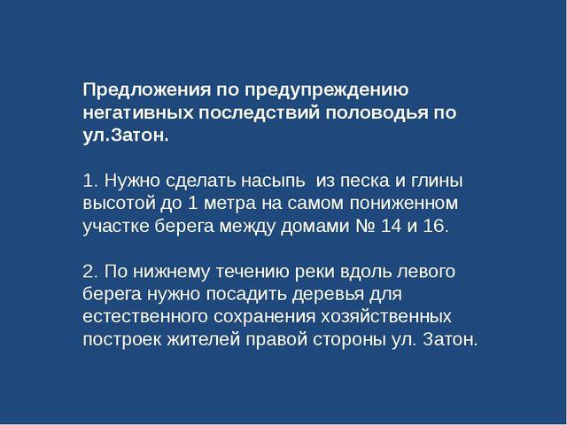 Предложения по предупреждению негативных последствий половодья по ул.Затон. 1...