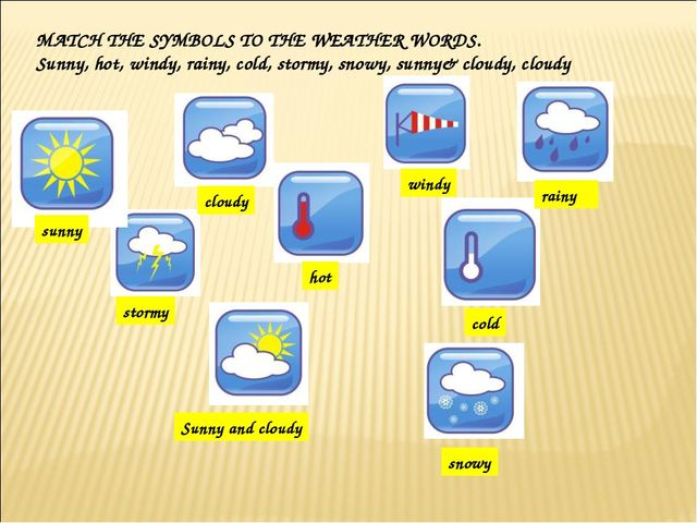 MATCH THE SYMBOLS TO THE WEATHER WORDS. Sunny, hot, windy, rainy, cold, storm...