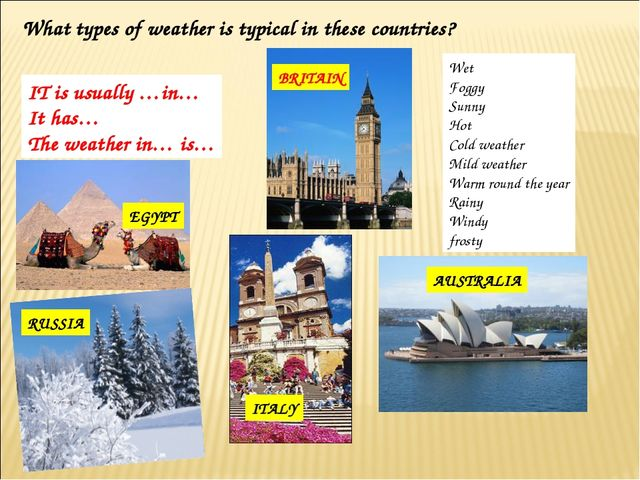 What types of weather is typical in these countries? SPAIN BRITAIN EGYPT ITAL...