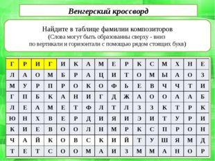 Найдите в таблице фамилии композиторов (Слова могут быть образованны сверху
