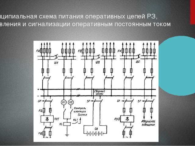 Принципиальная схема питания оперативных цепей РЗ, управления и сигнализации...