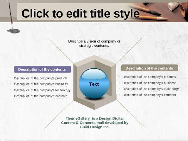 Click to edit title style Description of the contents Description of the cont...