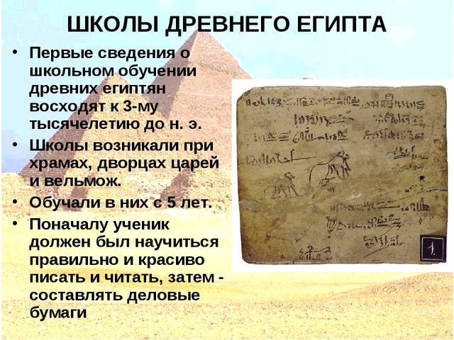 ШКОЛЫ ДРЕВНЕГО ЕГИПТА Первые сведения о школьном обучении древних египтян вос...