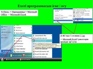 Excel программасын іске қосу 1) Пуск -> Программы-> Microsoft Office -> Micr