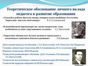 Теоретическое обоснование личного вклада педагога в развитие образования « В
