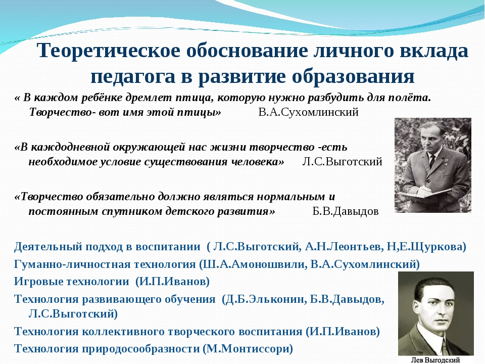 Теоретическое обоснование личного вклада педагога в развитие образования « В...
