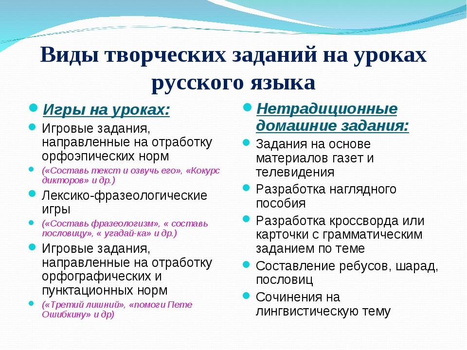 Виды творческих заданий на уроках русского языка Игры на уроках: Игровые зада...