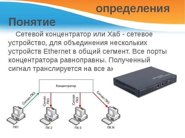 Понятие Сетевой концентратор или Хаб - сетевое устройство, для объединения н...