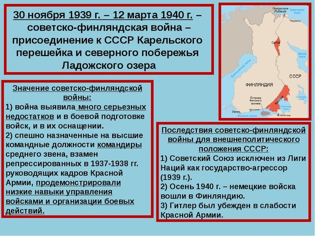 30 ноября 1939 г. – 12 марта 1940 г. – советско-финляндская война – присоедин...
