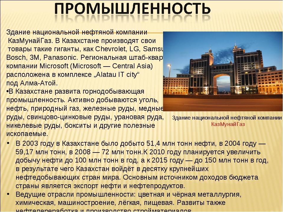 Здание национальной нефтяной компании КазМунайГаз. В Казахстане производят св...