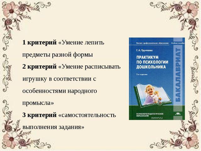 Методика Г.А. Урунтаевой «Диагностика изобразительной деятельности» 1 критери...