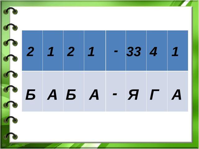 2 1 2 1 - 33 4 1 Б А Б А - Я Г А