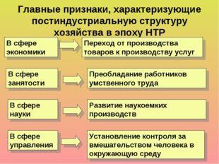 Главные признаки, характеризующие постиндустриальную структуру хозяйства в э