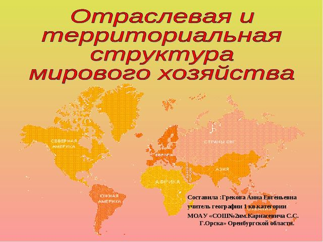 Составила :Грекова Анна Евгеньевна учитель географии 1 кв.категории МОАУ «СОШ...