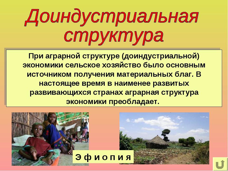 При аграрной структуре (доиндустриальной) экономики сельское хозяйство было о...