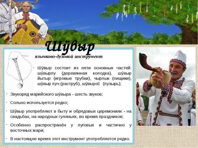 Шÿвыр язычково-духовой инструмент Шÿвыр состоит из пяти основных частей: шÿв...