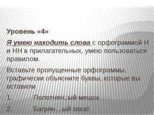 Уровень «4» Я умею находить слова с орфограммой Н и НН в прилагательных, уме