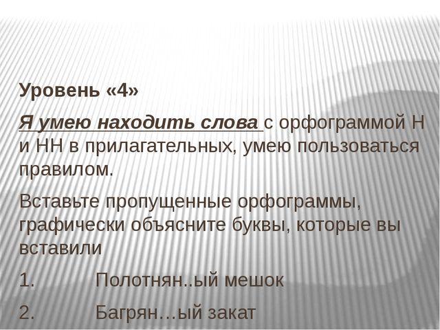 Уровень «4» Я умею находить слова с орфограммой Н и НН в прилагательных, уме...