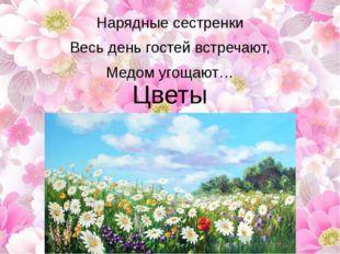 Нарядные сестренки Весь день гостей встречают, Медом угощают… Цветы