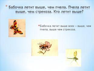 Бабочка летит выше всех – выше, чем пчела, выше чем стрекоза.