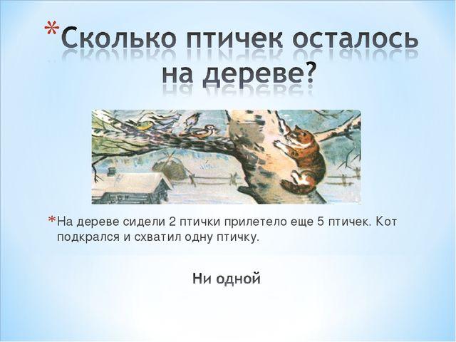 На дереве сидели 2 птички прилетело еще 5 птичек. Кот подкрался и схватил од...