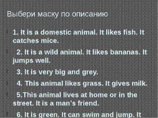 Выбери маску по описанию 1. It is a domestic animal. It likes fish. It catche