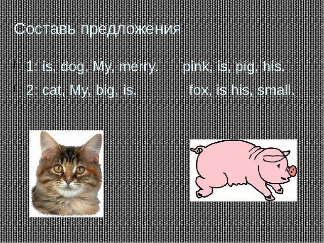 Составь предложения 1: is, dog, My, merry. pink, is, pig, his. 2: cat, My, bi...