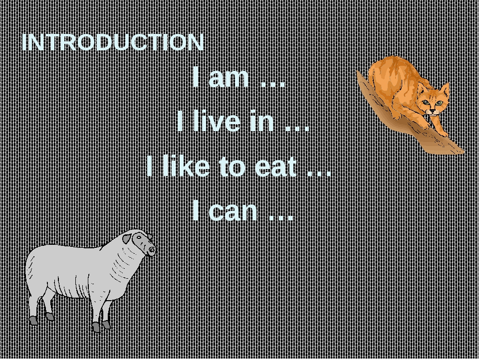 INTRODUCTION I am … I live in … I like to eat … I can …