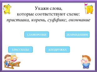 Укажи слова, которые соответствуют схеме: приставка, корень, суффикс, оконча