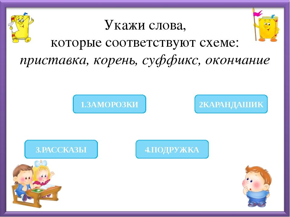 Укажи слова, которые соответствуют схеме: приставка, корень, суффикс, оконча...