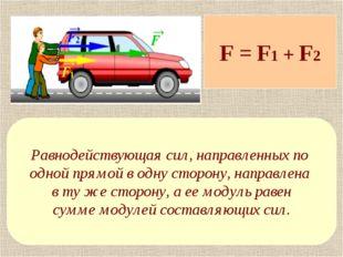F = F1 + F2 Равнодействующая сил, направленных по одной прямой в одну сторону