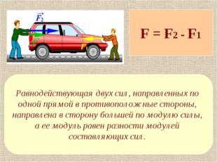 F = F2 - F1 Равнодействующая двух сил, направленных по одной прямой в противо