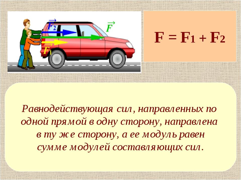 F = F1 + F2 Равнодействующая сил, направленных по одной прямой в одну сторону...