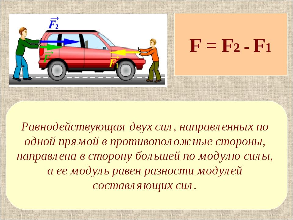 F = F2 - F1 Равнодействующая двух сил, направленных по одной прямой в противо...