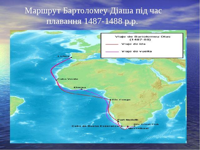 Маршрут Бартоломеу Діаша під час плавання 1487-1488 р.р.