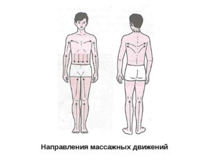 Направления массажных движений Рука (предплечье). Движение по направлению к л