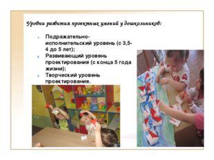 Уровни развития проектных умений у дошкольников: Подражательно-исполнительски