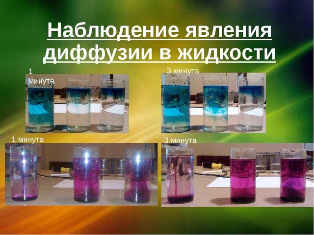 Наблюдение явления диффузии в жидкости 1 минута 3 минута 1 минута 3 минута